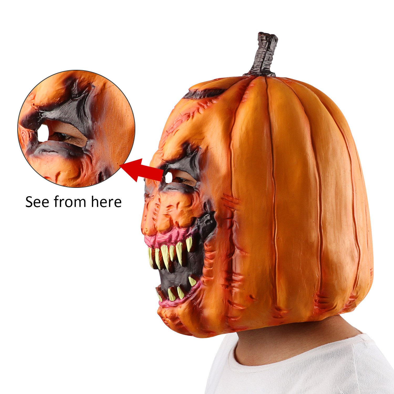 Pumpkin Head Mask,Monstleo Novelty Halloween Costume Party Latex Mask for Masquerade/Birthday Parties,Carnival Decorations