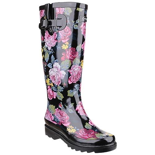 Cotswold Rosefest Black - Chaussures Bottes de pluie Femme