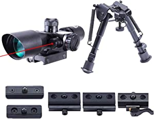 Pinty 2.5-10x40 Red Green Illuminated Mil-dot Tactical Rifle Scope with Red Laser Combo & Rifle Bipod with 6 inch to 9 inch Adjustable Legs, Works with Rifle Slings and Picatinny MLOK KeyMod and QD Mo