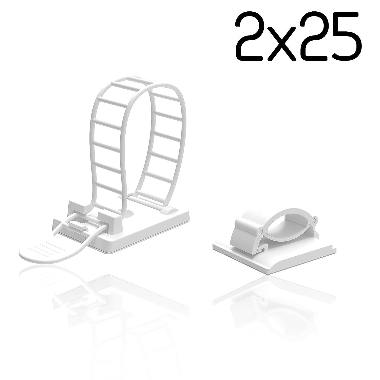 50er Set Kabelclips | Kabelklemmen-Set für: Amazon.de: Elektronik