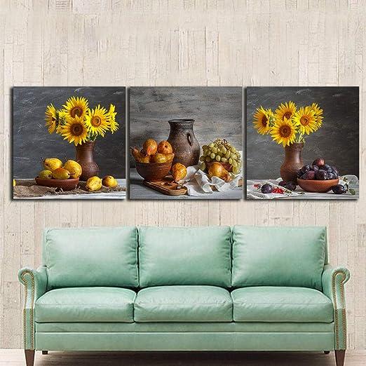 3 Piezas Bodegones Girasoles Pinturas Para La Cocina Fruta