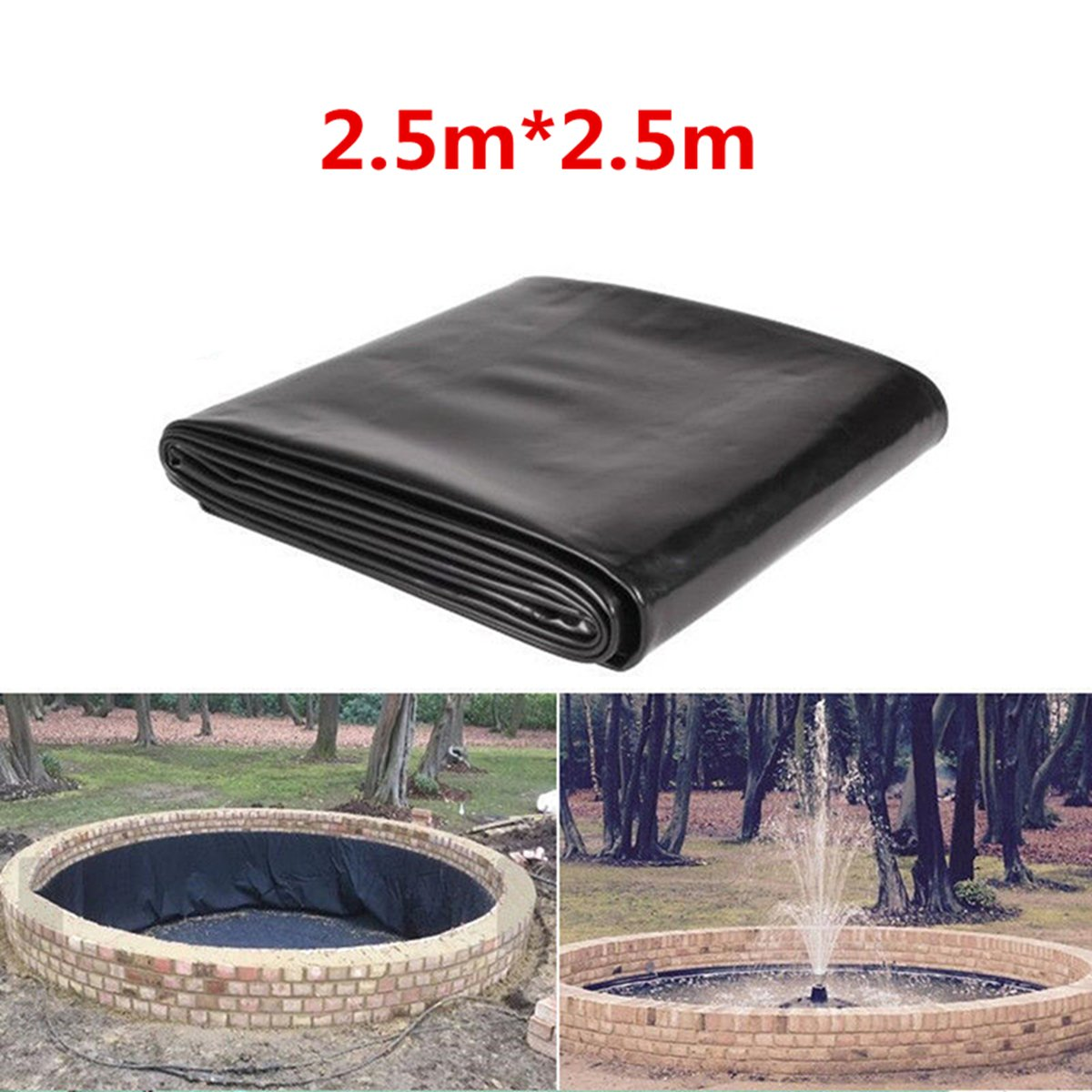 Pond Liners KINGSO Pond Skins Waterfall and Water Features Black 8FTx 8FT