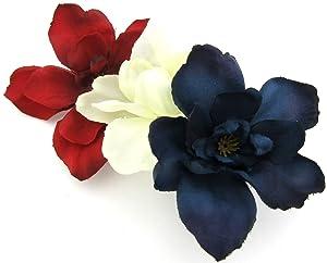 Triple Red White Blue Apple Blossom Silk Flower Hair Clip with Teeth