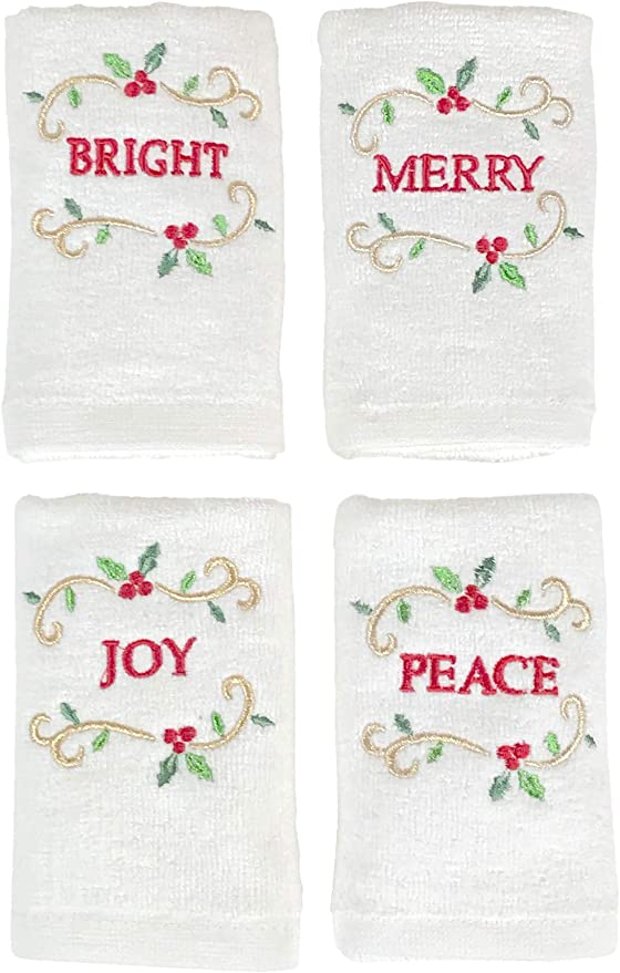 Peace /& Joy Holiday Country Kitchen Cotton Embroidered Tea Towel 1