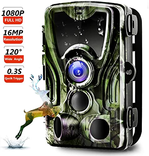 Trail Camera, Binrrio Game Hunting Camera with Night Vision Motion Activated 16MP 1080P Waterproof Outdoor Wildlife Camera 120 Detection, 0.3s Trigger 2.4 LCD IR LEDs