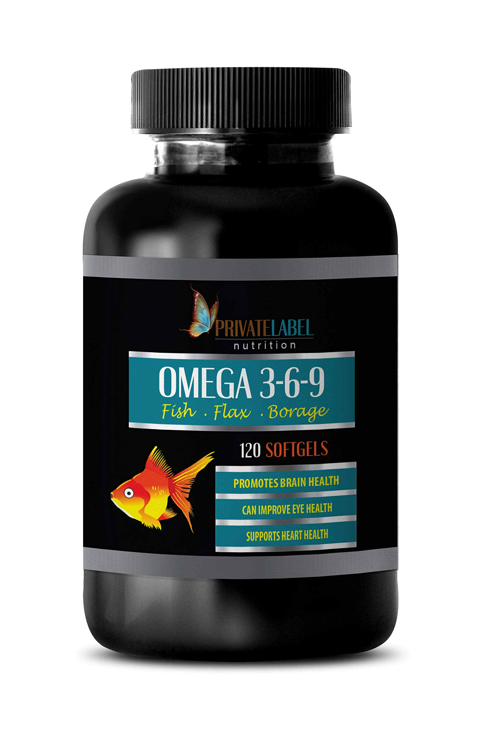Cholesterol lowering Products - Omega 3 6 9 with Fish Oil, Flax & Borage - Omega 3 Supplements - 1 Bottle 120 Softgels by PRIVATE LABEL LLC
