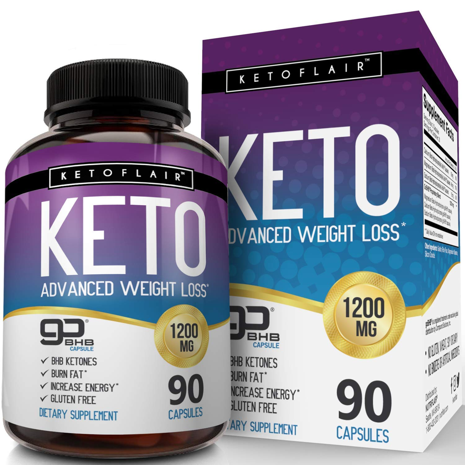 Best Keto Diet Pills GoBHB 1200mg, 90 Capsules Advanced Weight Loss Ketosis Supplement - Natural BHB Salts (beta hydroxybutyrate) Ketogenic Fat Burner, Carb Blocker, Non-GMO - Best Weight Loss Support by NutriFlair