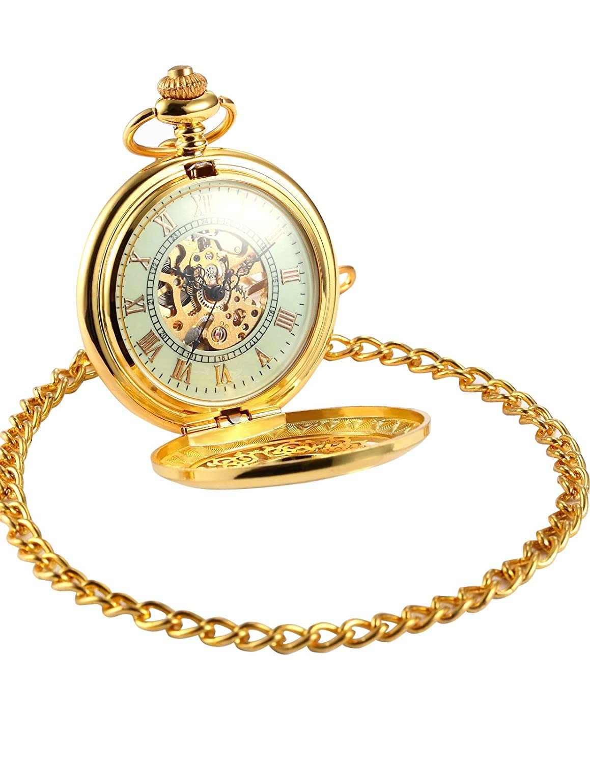 3fcadbc0d Amazon.com: AMPM24 Luxury Golden Luminous Men's Mechanical Pocket Watch +  Chain Gift WPK020: Watches