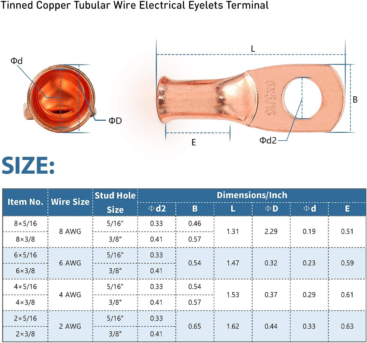 12PCS 6x5//16 Copper Ring Terminal Connectors 6 AWG Heavy Duty Battery Cable Ends Bare Copper Lugs with 12 PCS 3:1 Heat Shrink Tubing for Vehicle Boat Marine Use