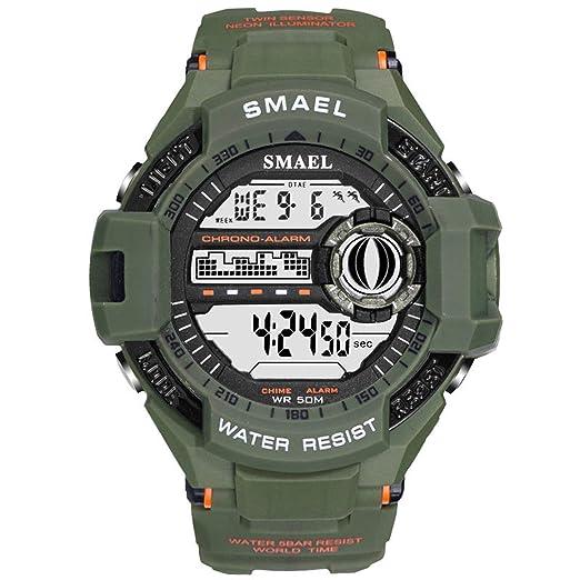 Beydodo Reloj Deportivo Reloj Impermeable Relojes Electronicos Reloj de Estudiante Reloj Hombre Verde del Ejército: Amazon.es: Relojes
