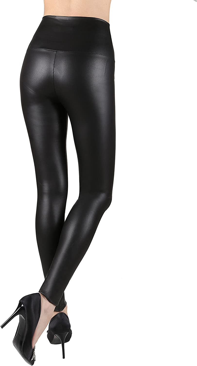 Women Latex Leggings PVC PU Leather Skinny Leather Ankle-length Stretchy Pant HG