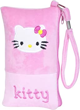 Chords Hello Kitty Mobile Pouch in Soft Toy Pencil Pouch for Girls with Handle