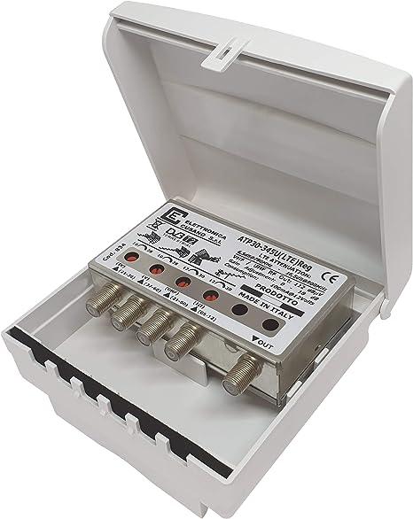 Elettronica Cusano ATP30-345U(LTE) Reg Amplificador Antena TV de Palo con Filtro Lte/4G, Ganancia máxima 30dB, Amplificador Antena TV 4 Entradas: ...