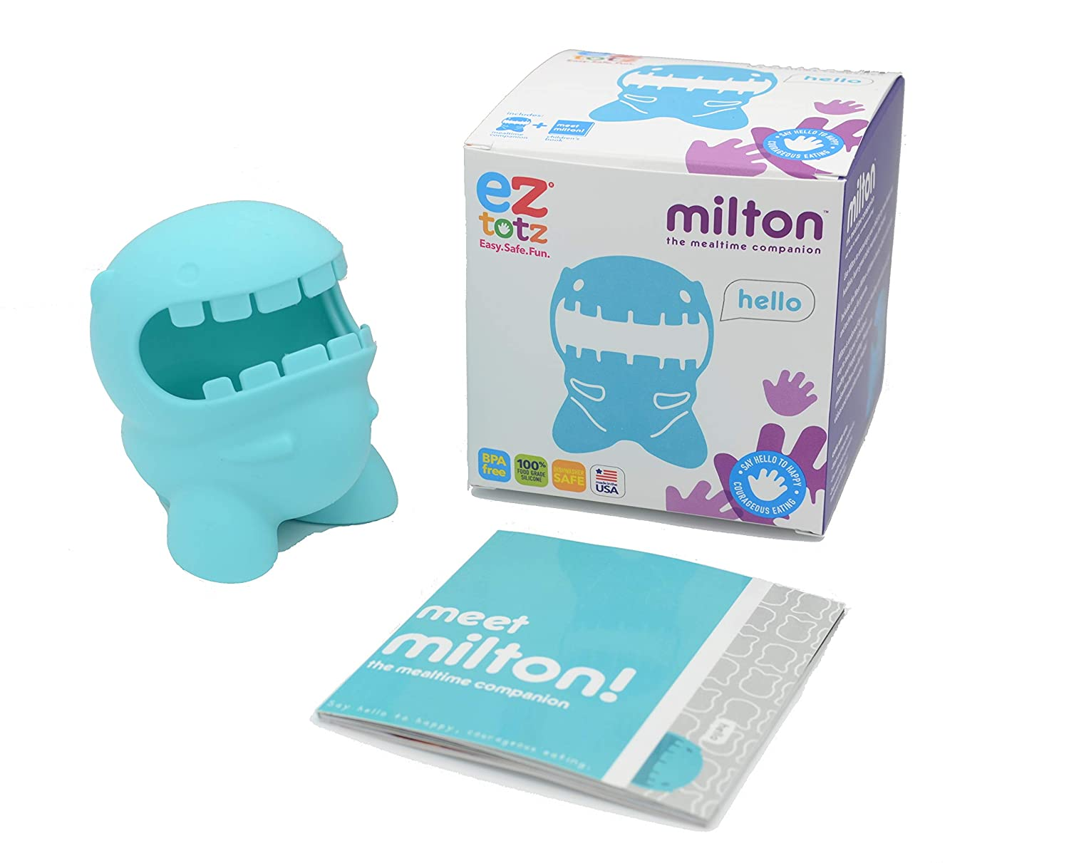 EZTOTZ Meals with Milton - USA Made Toddler & Baby Products for Feeding Therapy - Encourage Your Picky Eater to Try New Foods with Our Mealtime Companion - 100% Food Grade Silicone Toys for Kids