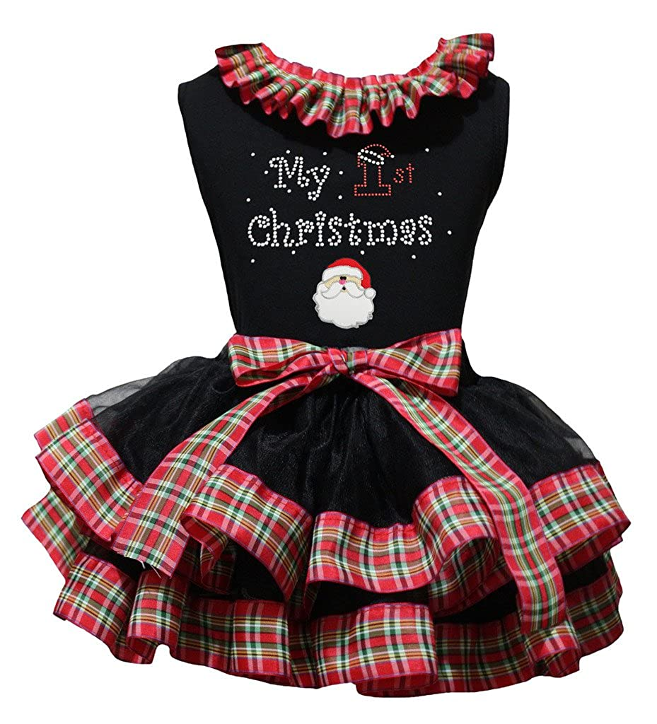 Petitebella My 1st Christmas Santa Black Shirt Checker Ribbon Petal Skirt Nb-8y