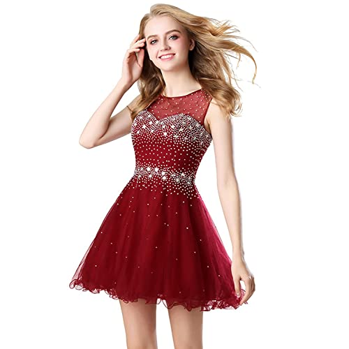 Belle House Womens Short Beading Homecoming Dress for Juniors A Line Prom Ball Gown