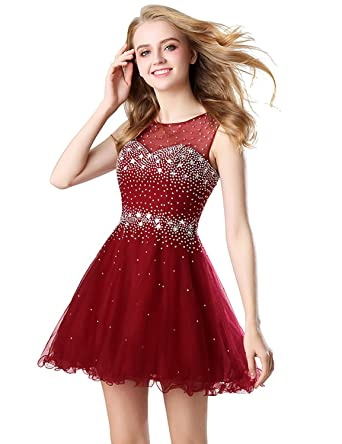 d1b3bf6883 Belle House Women s Short Tulle Beading Homecoming Dress for Juniors A Line  Prom Dresses Burgundy