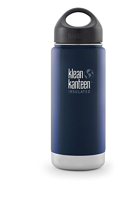 d01e97f377 Klean Kanteen Wide Insulated Bottle with Stainless Loop Cup, Deep Sea,  16-Ounce