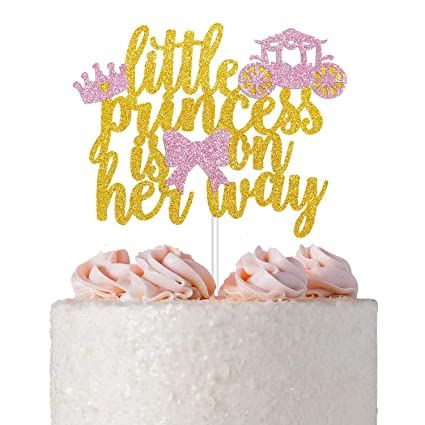 Pink Crown Centerpiece,It/'s A Girl Centerpiece,Pink and Gold Centerpiece,Pink baby shower,Gender reveal Princess Cake Topper 1
