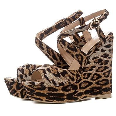 F2 F Damen Sandalen Leopard