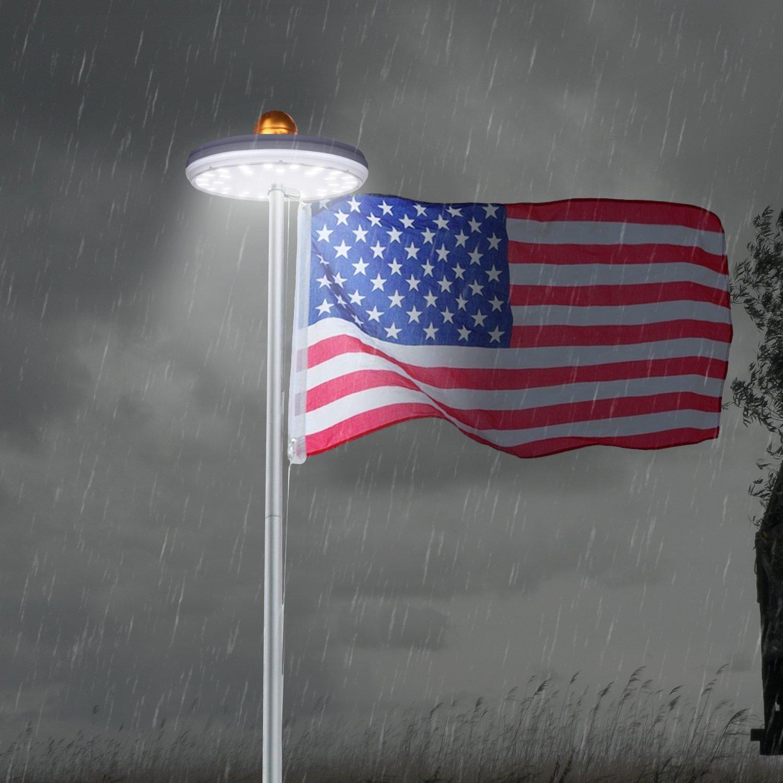 Solar Flag Pole Lights 32 LED Solar Powered Flagpole Lighting Night Light Kit for 15 to 25 Ft Top (Built-in Li-ion Battery) by Feelle (Image #6)