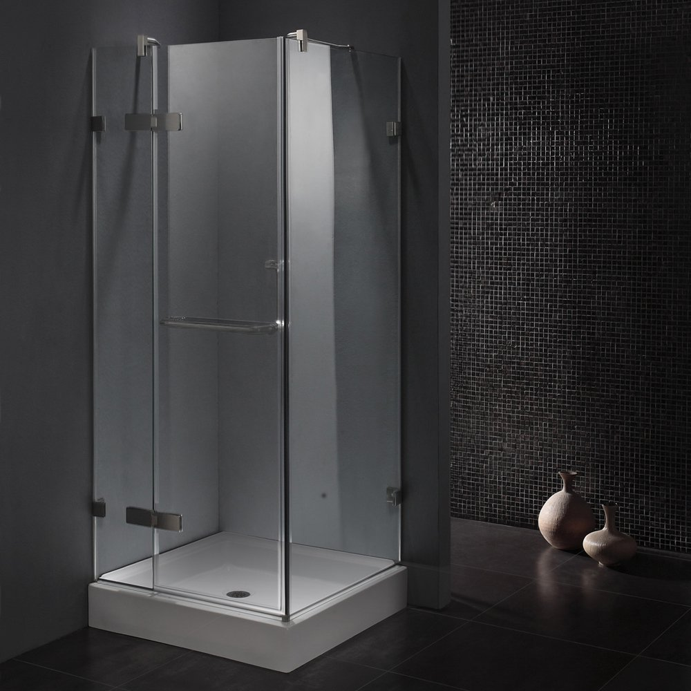 36 inch corner shower. VIGO Monteray 36 x in  Frameless Shower Enclosure with 375 Clear Glass and Brushed Nickel Hardware Base Included Single Frames Amazon