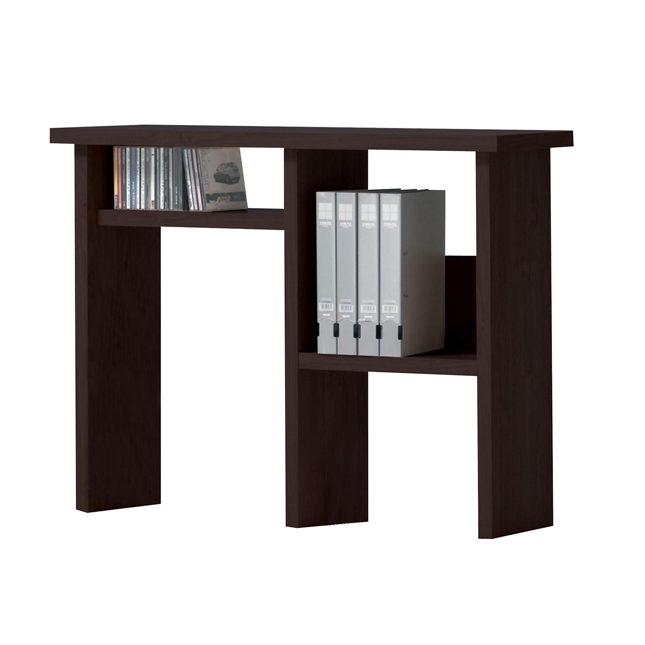 Benzara BM177549 Wooden Computer Hutch with Open Shelves, Brown
