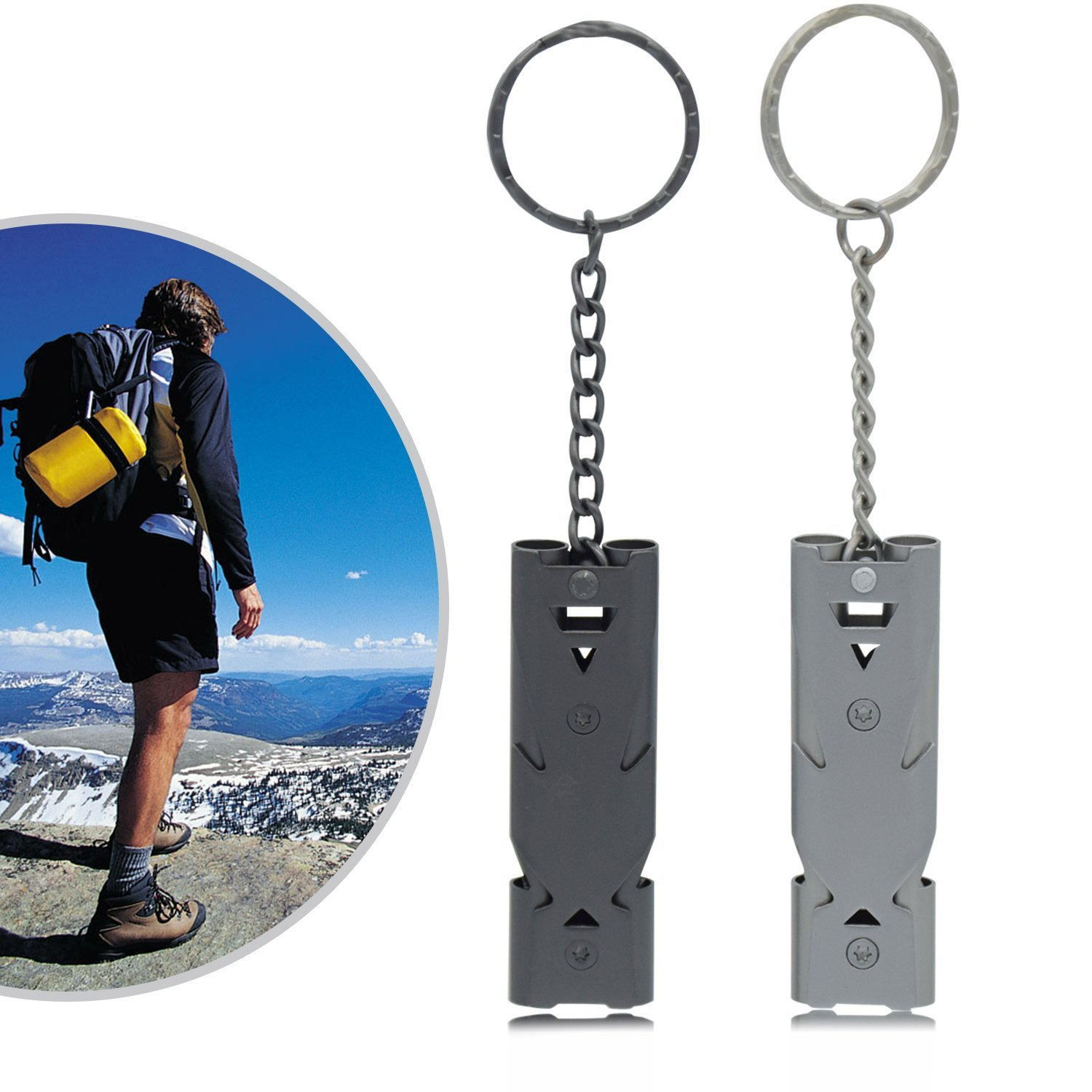 Sunerly Stainless Steel 2 Pack Emergency Whistle Double Tubes High Decibel Outdoor Survival Signal for Safety Life Saving Key Chain for Camping//Hiking