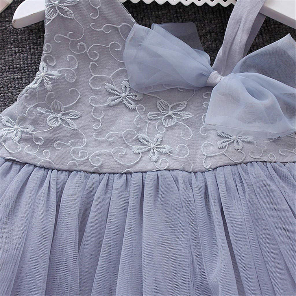Vinjeely Cute Floral Bow Sleeveless Lace Tutu Toddler Girls Spring Princess Party Dress