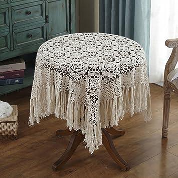 William 337 Crochet Hecho a Mano del Mantel de Ganchillo de la Vendimia (Square-120 * 120CM) (Color : Beige, Tamaño : 120 * 120cm): Amazon.es: Hogar