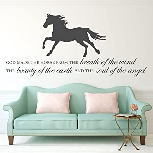 "Horse Vinyl Wall Decal""God Made the Horse"" Quote with Stallion Silhouette - Home Decor for Living Room, Bedroom - Decoration for Tack Room, Barn, Equestrian Center"