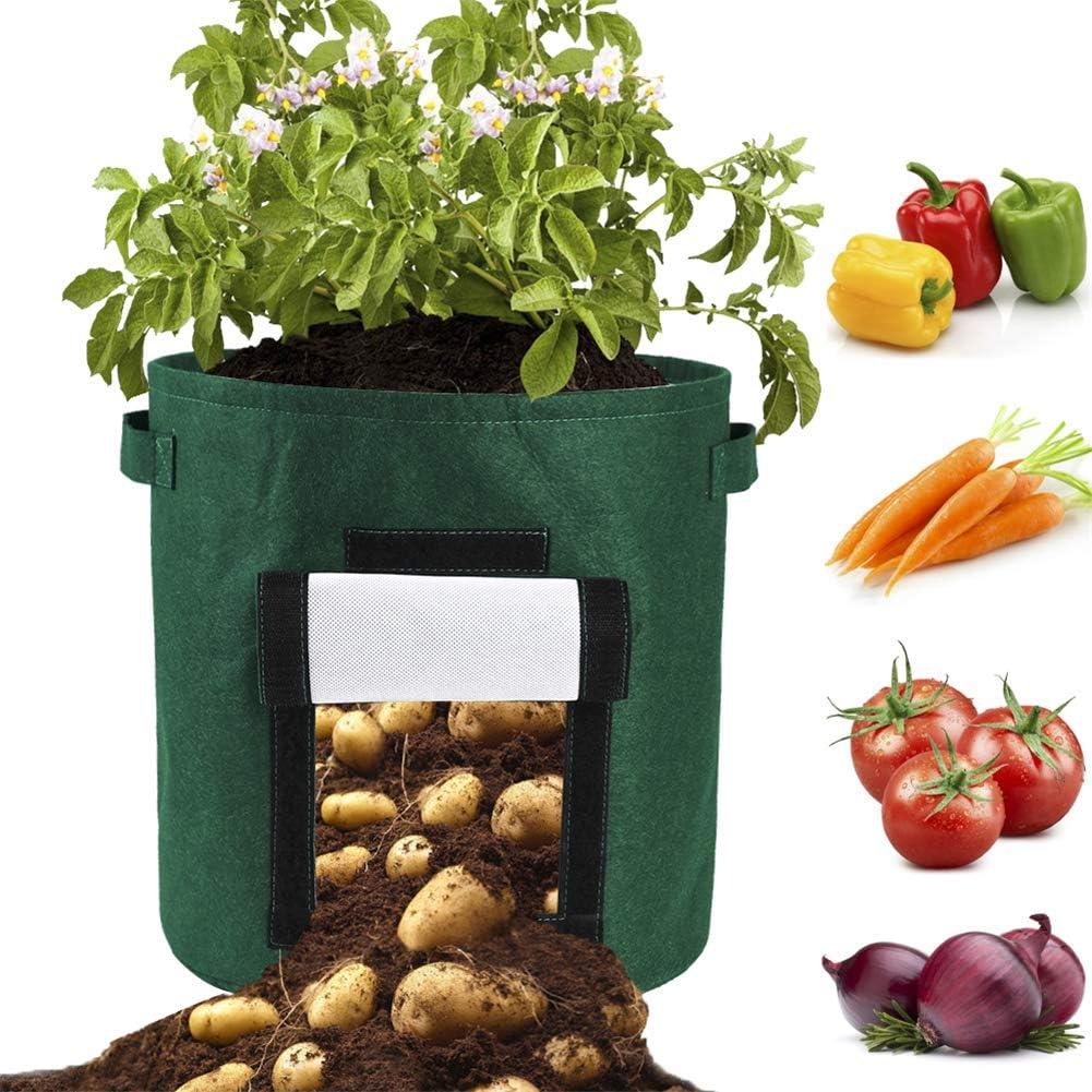 Pflanzgef/ä/ß mit Fenster und Griffen atmungsaktives Vlies zum Bel/üften von Kartoffeln Asdomo Kartoffel-Anzuchtbeutel Zwiebeln und Karotte Karotten Gem/üsebeutel
