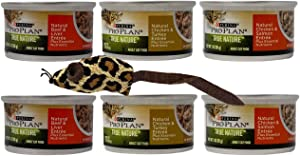 Purina Pro Plan True Nature Canned Wet Cat Food Entree 3 Flavor 6 Can with Catnip Mouse Sampler Bundle, 2 Each: Beef Liver, Chicken Turkey, Chicken Salmon (3 Ounces)