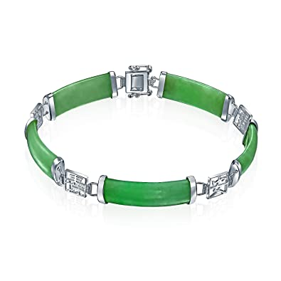 Anderson & Webb Green Jade Silver Bangle Bracelet with Extender Chain kAadfD