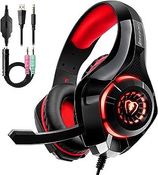Auriculares Gaming Premium Stereo con Microfono para PS4 PC Xbox One, Cascos Gaming con Bass Surround Cancelacion Ruido, Diadema Acolchada y Ajustable, Microfono Unidireccional (Tiene un adaptador): Amazon.es: Electrónica