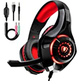 Auriculares Gaming Premium Stereo con Microfono para PS4 PC Xbox One, Cascos Gaming con Bass Surround Cancelacion Ruido…