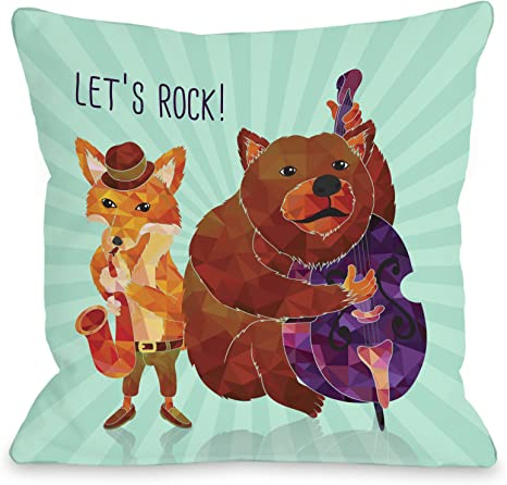 Amazon Com One Bella Casa Let S Rock Animal Band Throw Pillow By Obc 16 X 16 Turquoise Home Kitchen