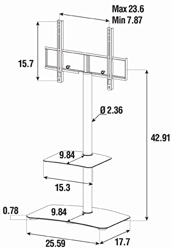 SONOROUS PL-2810 Modern TV Floor Stand Mount Bracket with Tempered Glass Shelf for Sizes up to 60 Steel Construction – White