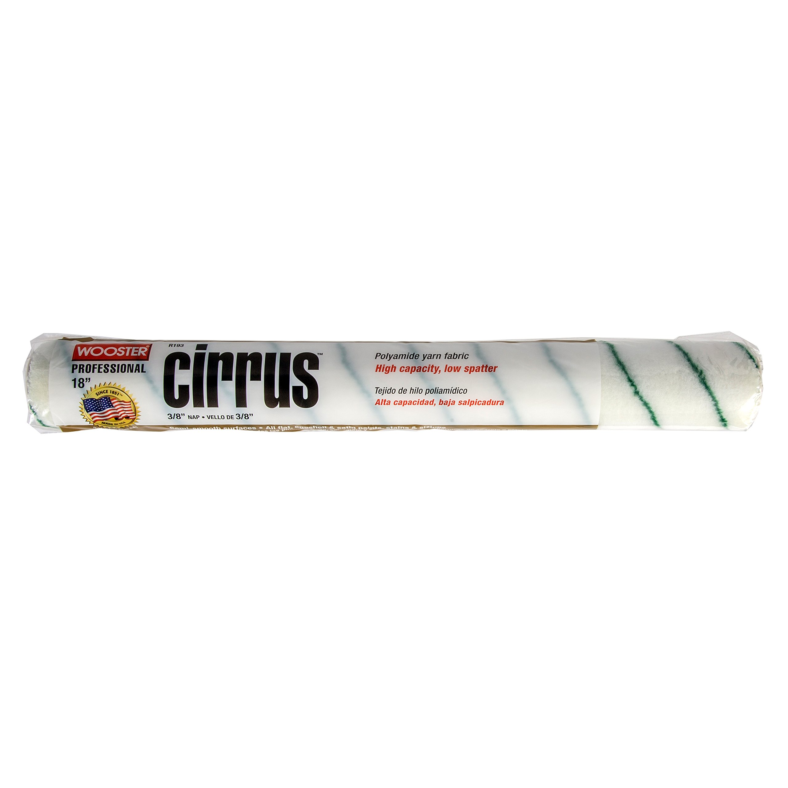 Wooster Brush R193-18 Cirrus Nap Roller, 3/8-Inch