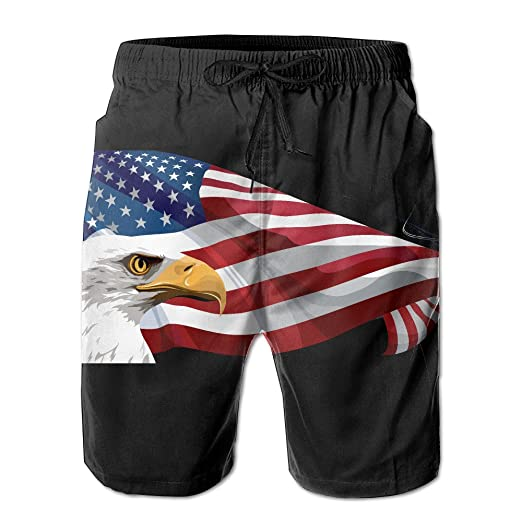 f81bcfb172 Men's Swim Trunks American Flag Eagle Convenient Board Shorts ...