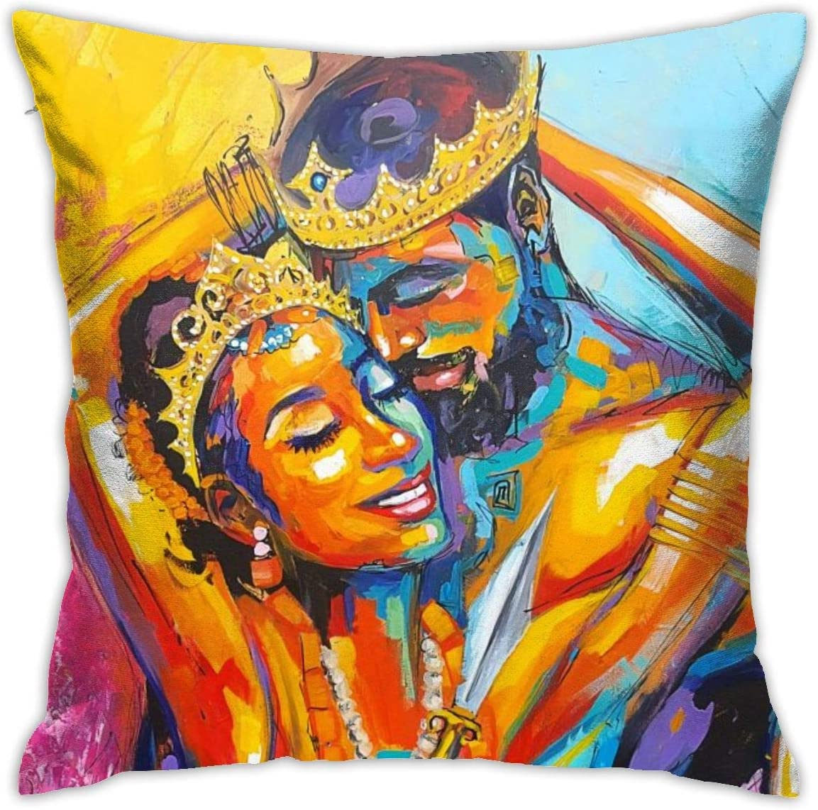 Gievszhe African American Lover Couple King and Queen Throw Pillow Covers Home Decor Zipper Cushion Pillow Case Square 18x18 Inches
