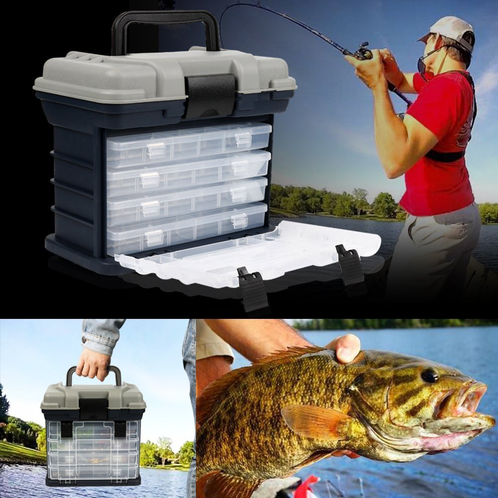 Portable Handheld Fishing Tackle Box 4 Layers Bulk Drawer Organizer Tool Fishing Lures Hooks Accessories Storage Tray Bait Case with Handle Utility Box by Unknown (Image #4)