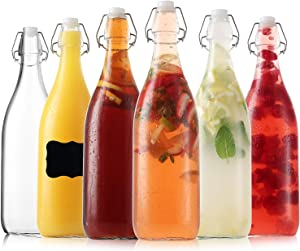 Flip Top Glass Bottles - Kombucha Bottles with Swing Top Lids – Clear Beer Brewing Bottles with Stopper - Swing Top Bottles for Beverages, Smoothies, Kefir, Beer, Soda, Juicing, Kombucha, Water (6 Pack 32 Oz)