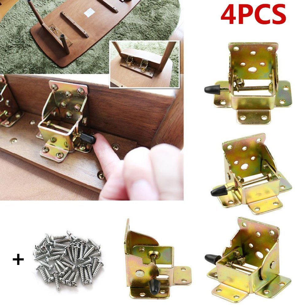 4 PCS Folding Bracket, TopDirect Iron Folding Lock Extension Table Chair Bed Leg Foldable Support Brackets Hinge Self Lock Hinges with Screws by TopDirect