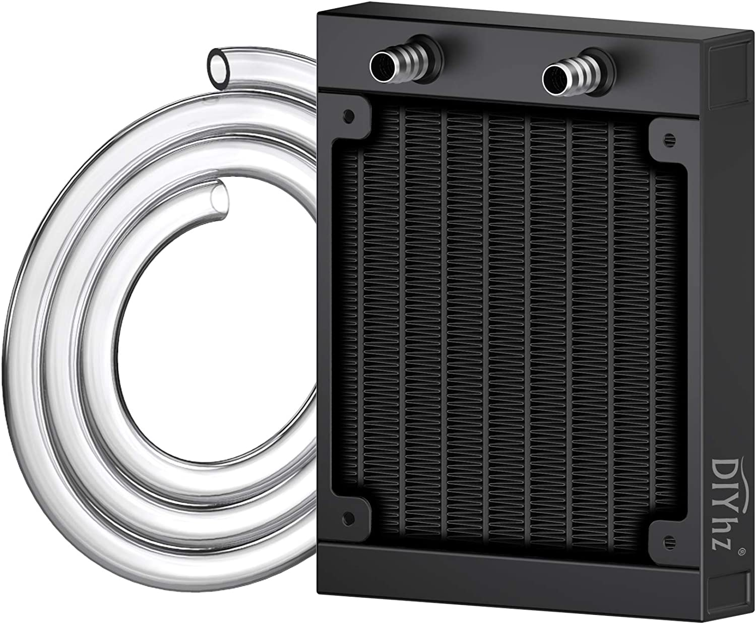 DIYhz Water Cooling Computer Radiator, 8 Pipe Aluminum Heat Exchanger Liquid Cooling Radiator Heat Sink 80mm for CPU PC Laser Water Cool System DC12V Black