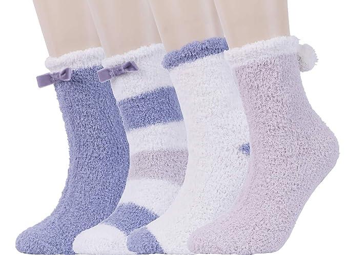 RedMaple - Calcetines de estar por casa - para mujer Azul 4 Pairs Dusty Blue Talla