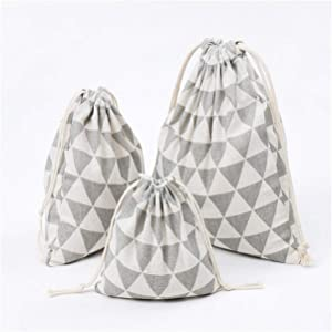 1Pcs Grain Drawstring Linen Storage Bag Gift Jewelry Organizer Makeup Cosmetic Coins Keys Bags,M,M