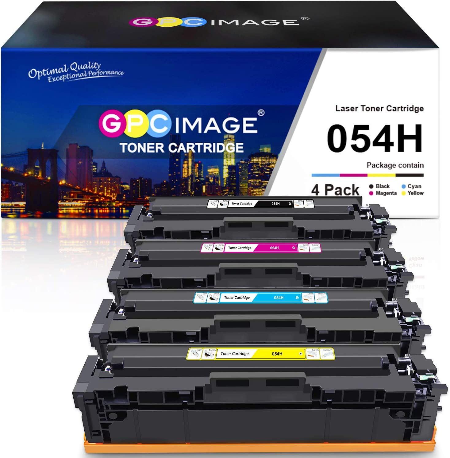 GPC Image Compatible Toner Cartridge Replacement for Canon 054H Cartridge 054H CRG 054 to use with ImageClass LBP622Cdw MF644Cdw MF642Cdw MF640C LBP620 Toner Printer Ink (Black, Cyan, Magenta, Yellow)