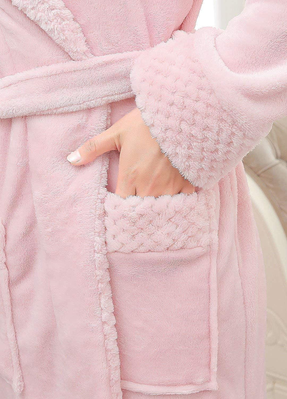 Invierno Bata de Dormir Ligera Albornoz Largo de Invierno para Mujer Bata de Ba/ño con Cuello de Felpa Ropa Suave y Caliente de Dormir para SPA Hotel