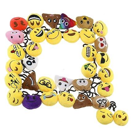 OTOTEC 34 pcs Mini Emoji Llavero Encantador Emoji Peluche ...